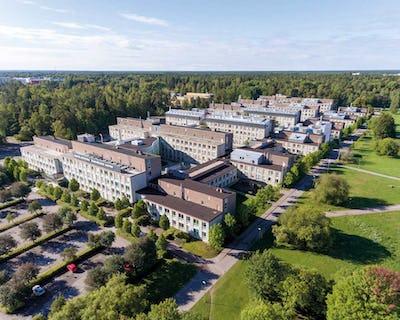 Flygbild över Biomedicinskt centrum, Uppsala universitet.